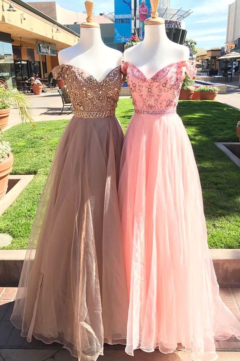 Beautiful tulle prom dresses, off the shoulder prom dresses, ball ...