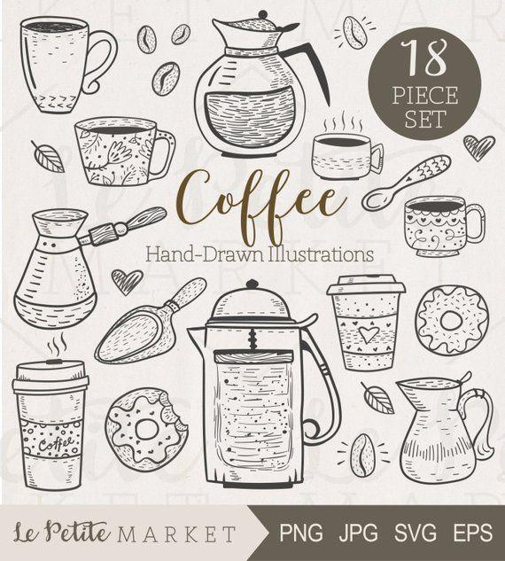 13fa01a52b7 Cute Hand Drawn Café Clip Art
