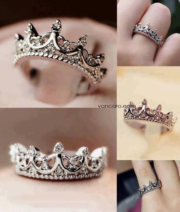 43f076e5bf This would be a perfect way for my husband to remind our daughters that  they are special (once they reach their teen years). Princess crown wedding  band.