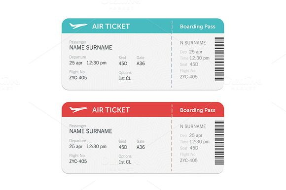 Set Of The Airline Boarding Pass Ticket Design Ticket Design Template Boarding Pass Template