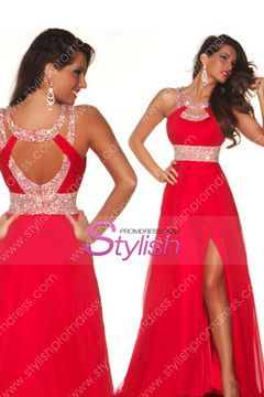 2014 Sexy Prom Dresses A Line Scoop Sweep/Brush Red  Open Back USD 128.99 STP6DBJJ6F - StylishPromDress.com