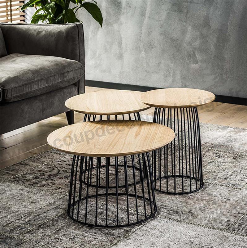 Tables Basses Pied Metal Noir Industrielle Table Basse Table Basse Noire Et Bois Ensemble Table Basse