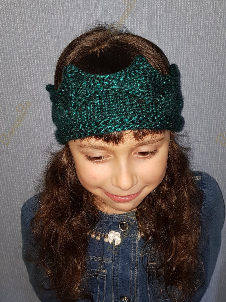 Ready to ship. Knitted shine warm crown headband for girl . Crochet tiara accessories princess girl and women. Ski hat queen crown for gift #crownheadband