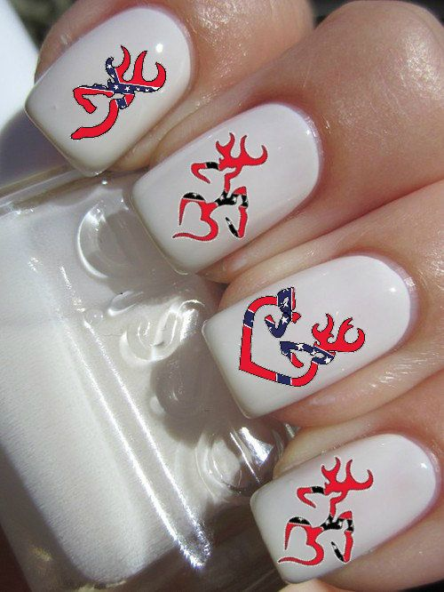 Rebel Flag Browning Deer Nail Decals on Wanelo - Flag Nail!Wow!!Cool! Www.wigsbuy.com Nails Design Collection