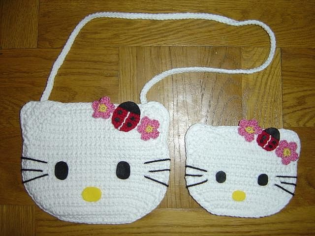 Crochet Hello Kitty Ladybug handbag and coin purse | Häkeln und ...