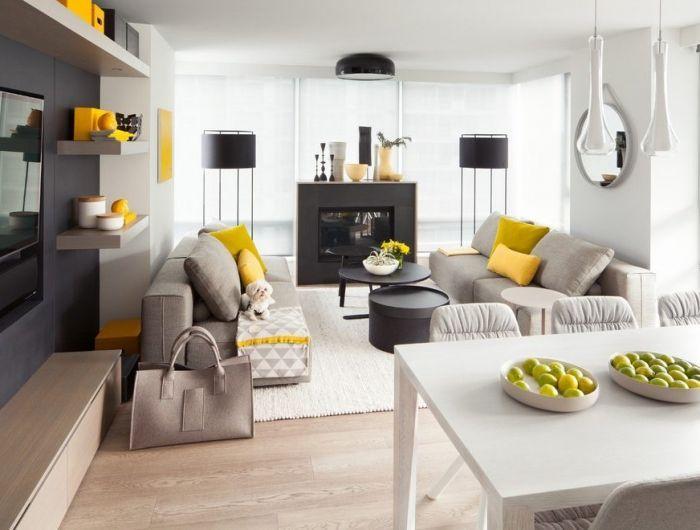 salon gris et blanc avec accents jaunes, canapés gris taupe
