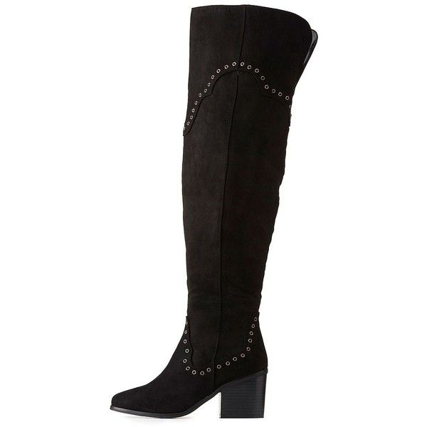2faa9aa32bf2 Bamboo Faux Suede Studded Over-The-Knee Boots ( 20) ❤ liked on Polyvore  featuring shoes
