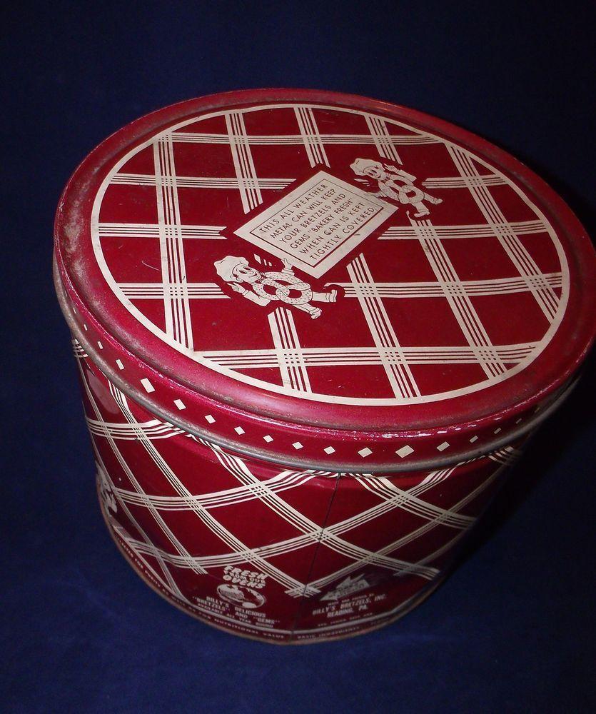 Vintage Billyu0027s Bretzels Tin Storage Can Pretzels Reading Pa Rare  Collectible