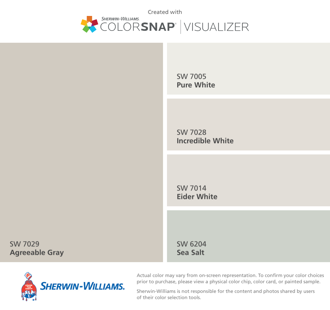 I found these colors with ColorSnap® Visualizer for iPhone by Sherwin-Williams: Agreeable Gray (SW 7029), Pure White (SW 7005), Incredible White (SW 7028), Eider White (SW 7014), Sea Salt (SW 6204). #sherwinwilliamsagreeablegray