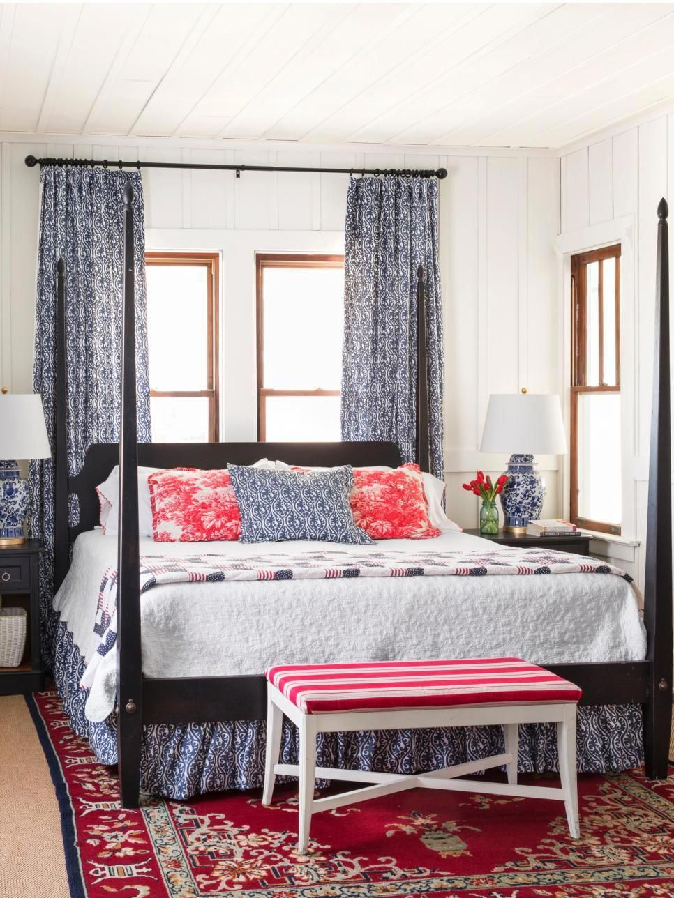 Bed head against window  beach cottage bargain decorating  interior design styles and color