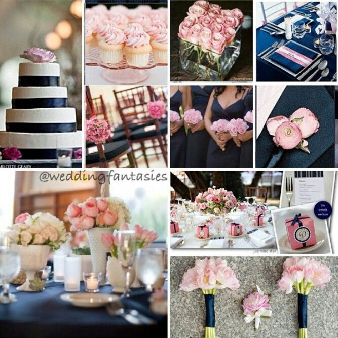 Navy Blue And Pink Wedding White Theme One