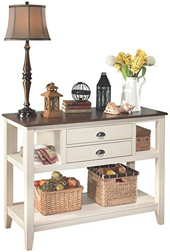 Ashley Furniture Signature Design - Whitesburg Dining Room Server - 2 Drawers and 2 Cubbies - Vintage Casual - Brown/...