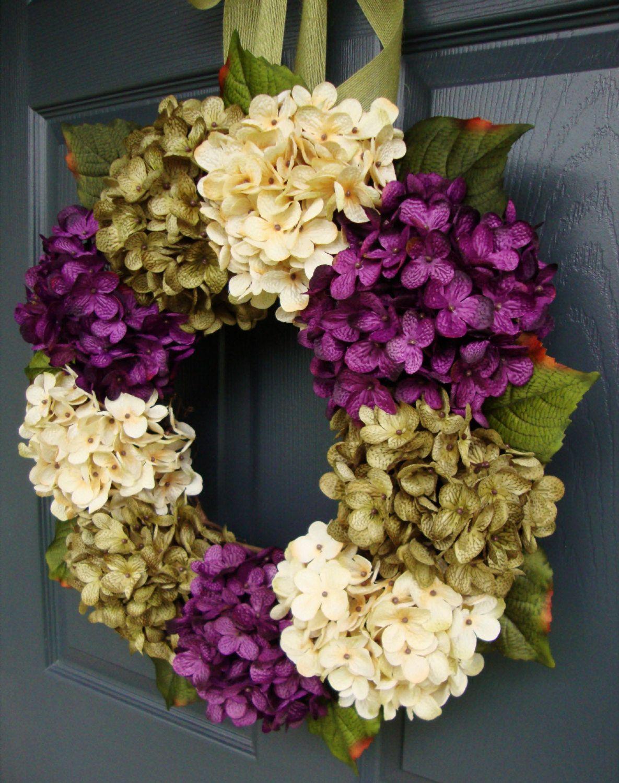 Wreaths Fall Wreath Front Door Hydrangea Summer Outdoor For Porch Decor