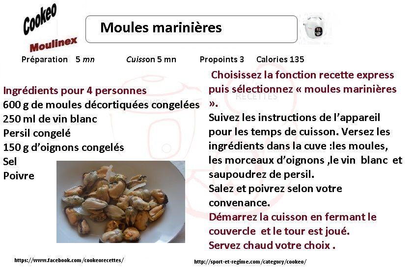 Voici une Recette cookeo diététique moules marinières .Vous pouvez imprimez  ou créer un PDF de