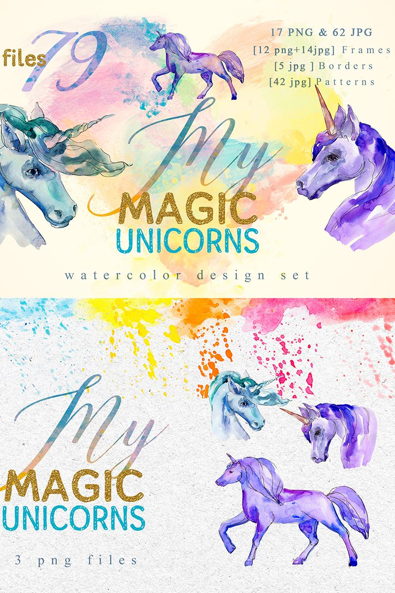 Magic unicorn watercolor png illustration 76637 social
