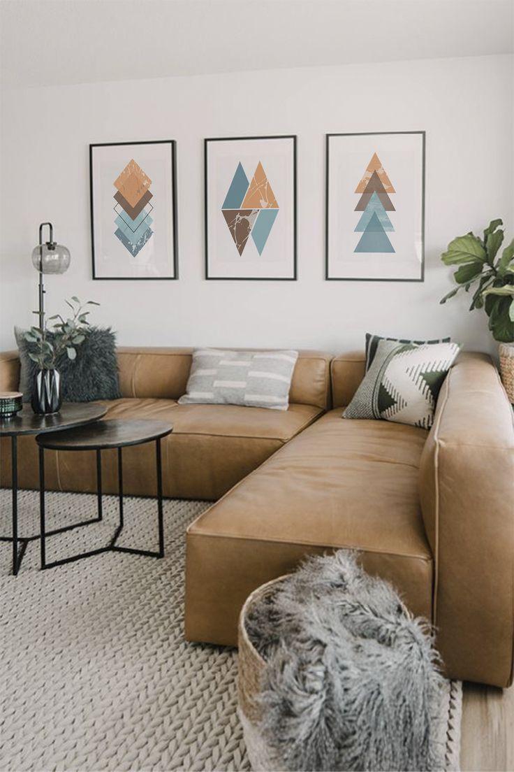 Photo of Turquoise Geometric Art Print, Geometry Art, Minimalism , Abstract Poster, Set of Three Prints, Set