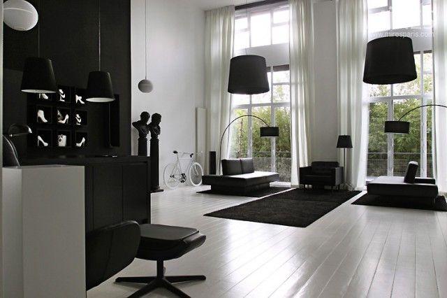 Black  White Statement Decor Black living room furniture, Living