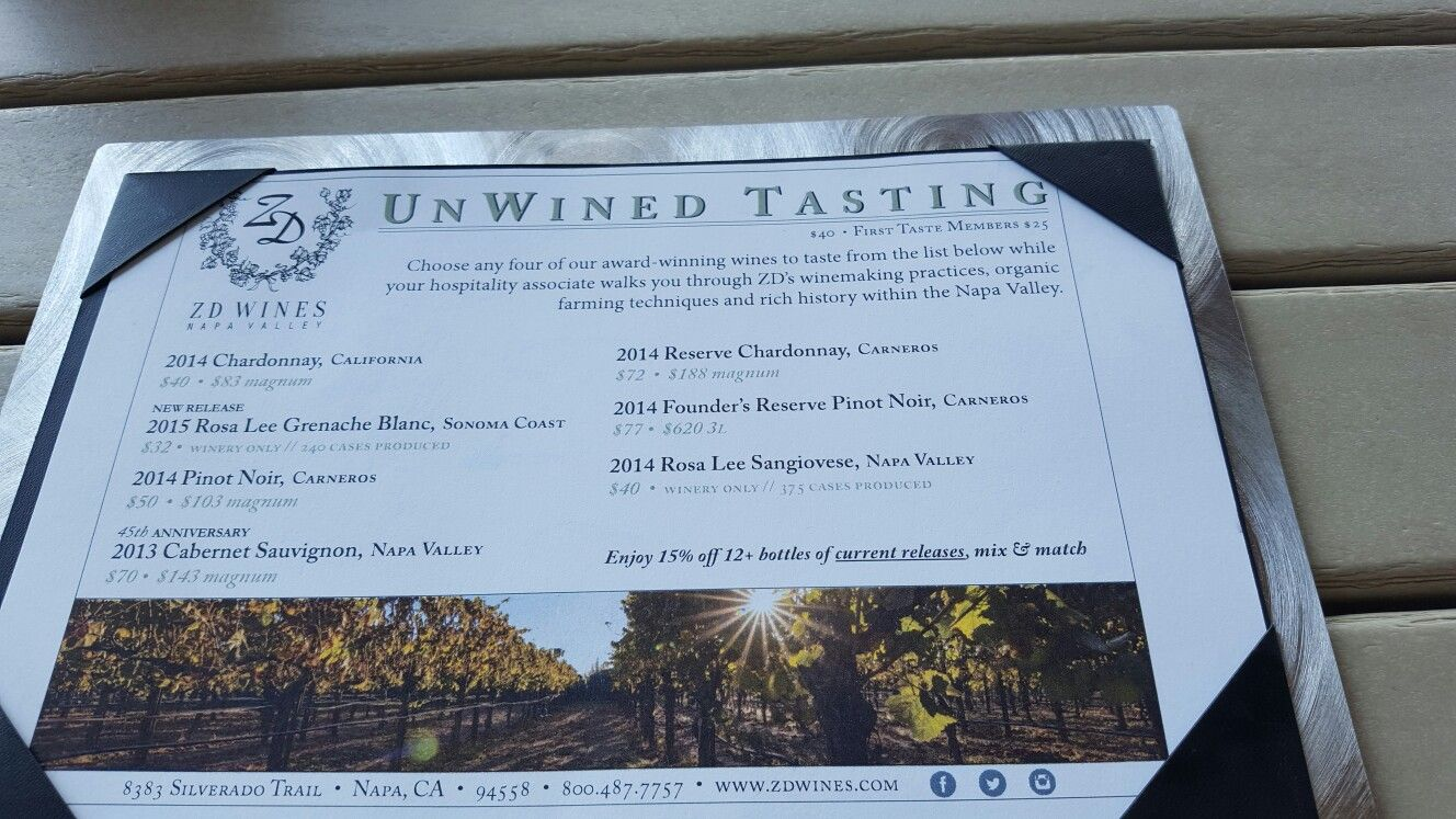 Wine tasting menu at ZD. Wine tasting is now done upstairs, either indoors or out on balcony