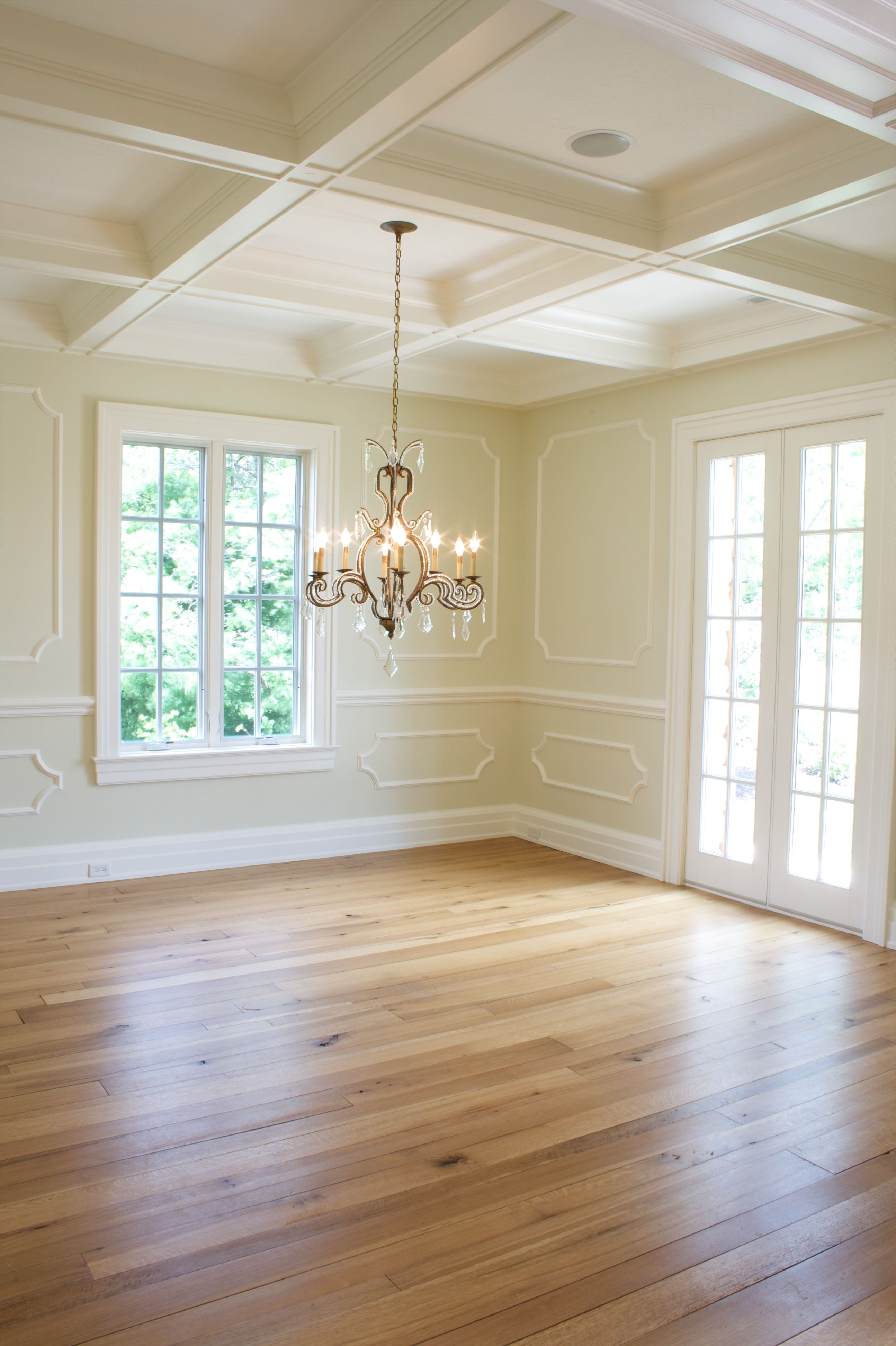 Light Wood Paneling: Applied Moulding For Wainscot. Coffered