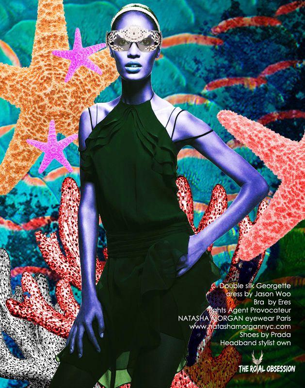 Fashion editorial.  Natasha Morgan eyewear. Photographer: ZOMNIA, Model: Joan Smalls,  Agency: IMG Models,  Hair: NM Studio