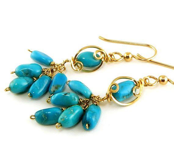 Sleeping Beauty Turquoise Earrings Blue by LeesEarringBoutique, $90.00