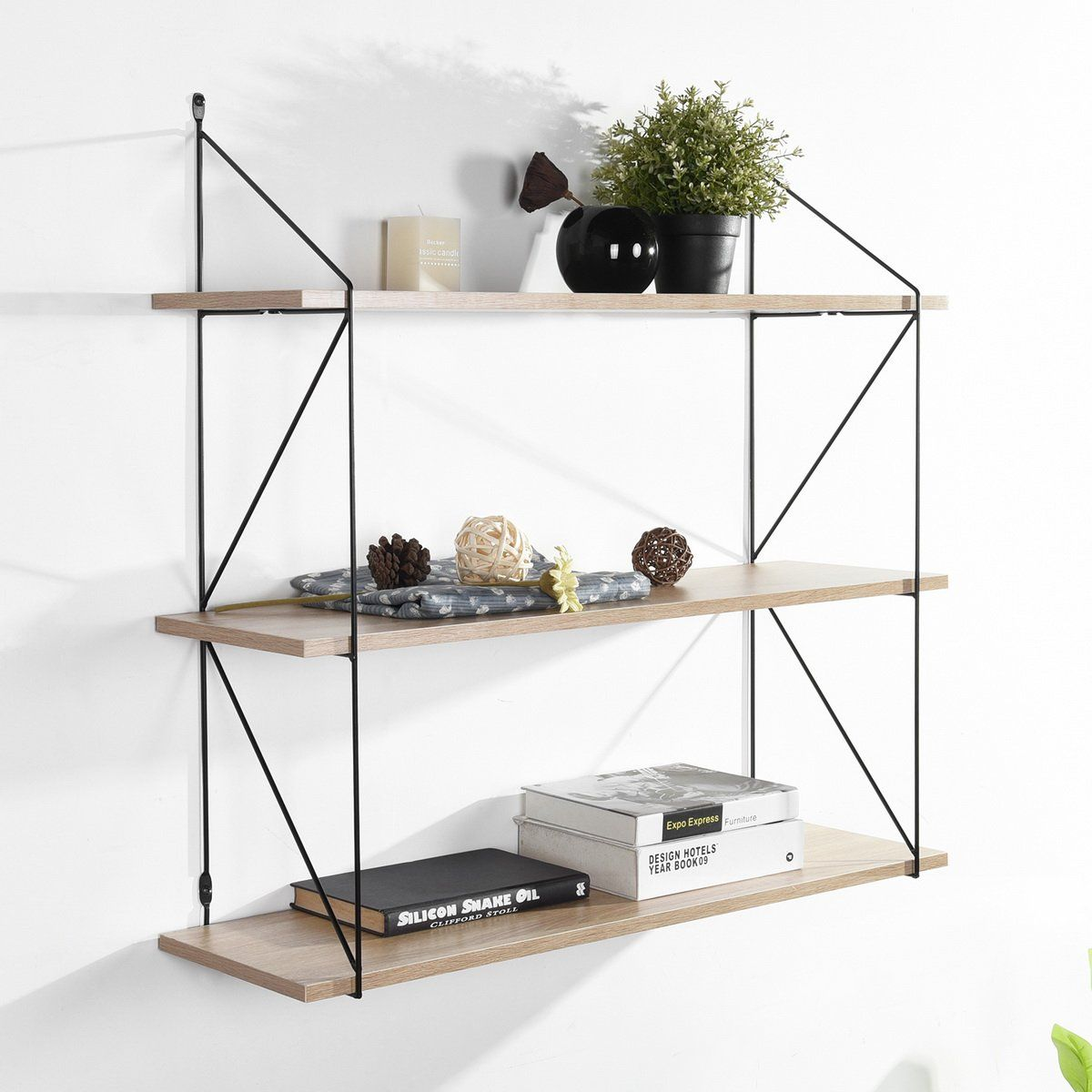 Photo of Wall-mounted storage shelf with 3 levels in light wood effect and black – TERZO