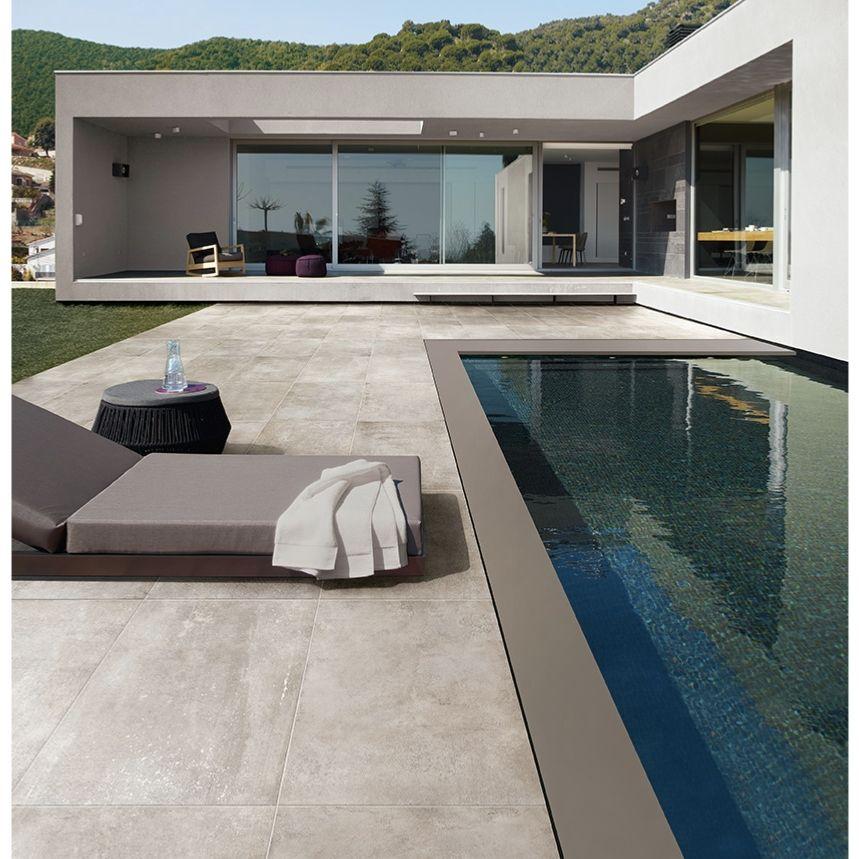 Carrelage extérieur effet pierre béton 45,5x91 Grigio Out, Patchwalk - pierre de dallage exterieur