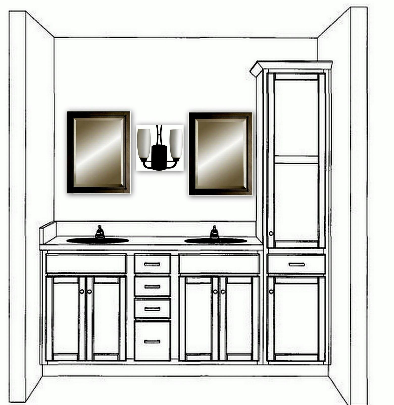 double bathroom vanity with linen cabinet | Aaaa-mazing Master Bath ...