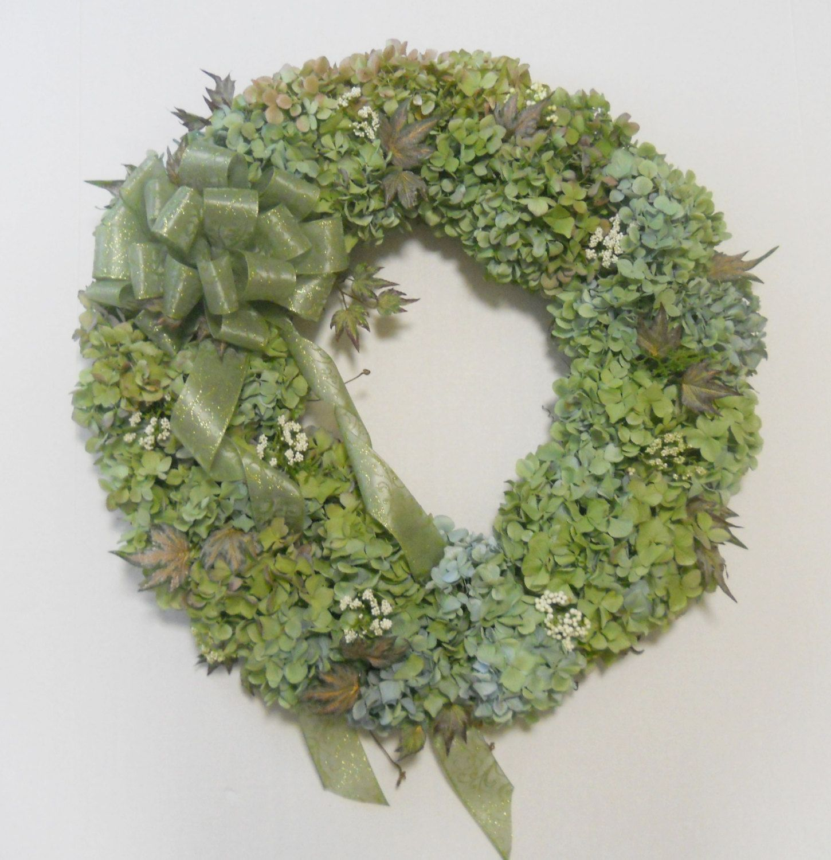 Handcrafted dried hydrangea flower wreath floral