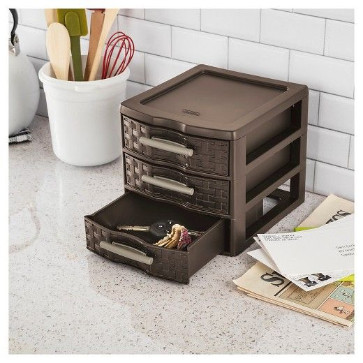 At Target   The Sterilite Small Weave 3 Drawer Unit Adds Sophistication To  Visibleu003cbr