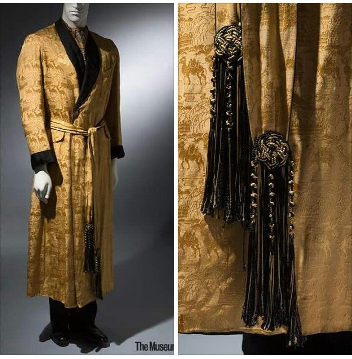 Yellow silk brocade and black satin dressing gown by Charvet, 1930s ...