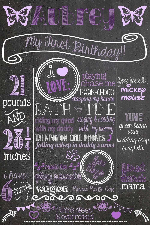 Butterfly First Birthday Chalkboard Poster by PersonalizedChalk, $30.00