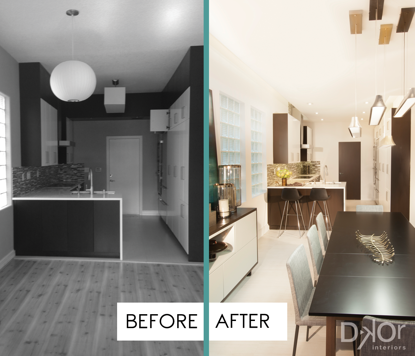 A Contemporary Moody Home - Residential Interior Design Project in Aventura, Florida #Remodel #InteriorDesign #MiamiInteriorDesign #KitchenRemodel #DiningRoom