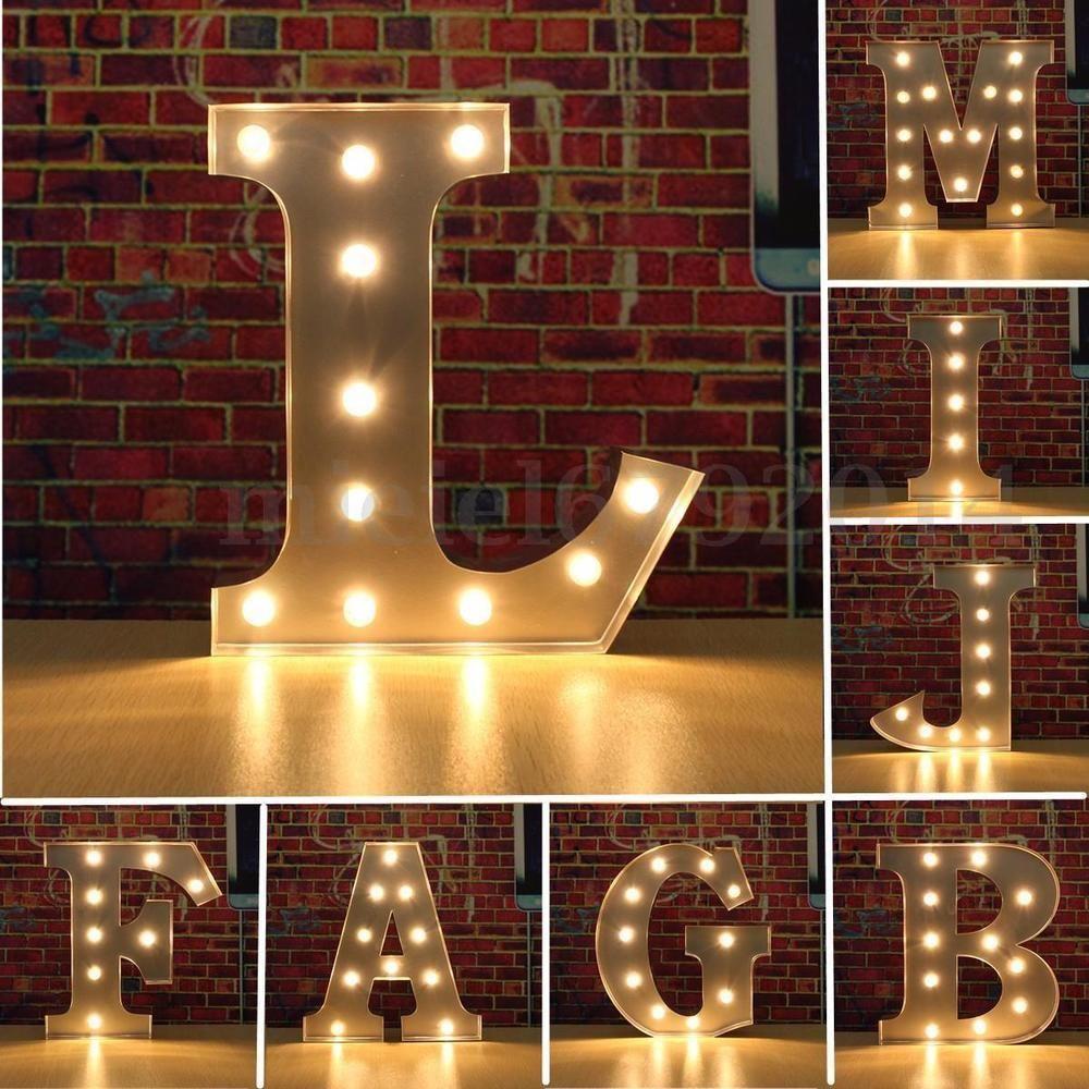 Letter M Indoor LED Light Up Alphabet Wall Hanging Plaque White Metal Wallart UK