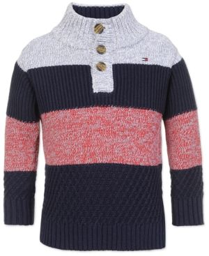 e35737574 Tommy Hilfiger Little Boys Colorblocked Mock-Neck Sweater - Blue 4 ...