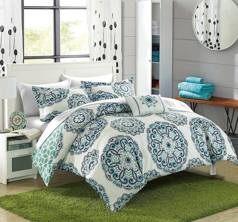 Alaya Boho Reversible Green 8pc Comforter Sheets Bedding
