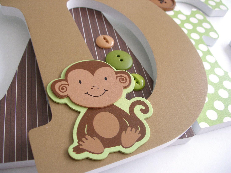 Custom Wooden Letters Monkey Theme Nursery Bedroom Home