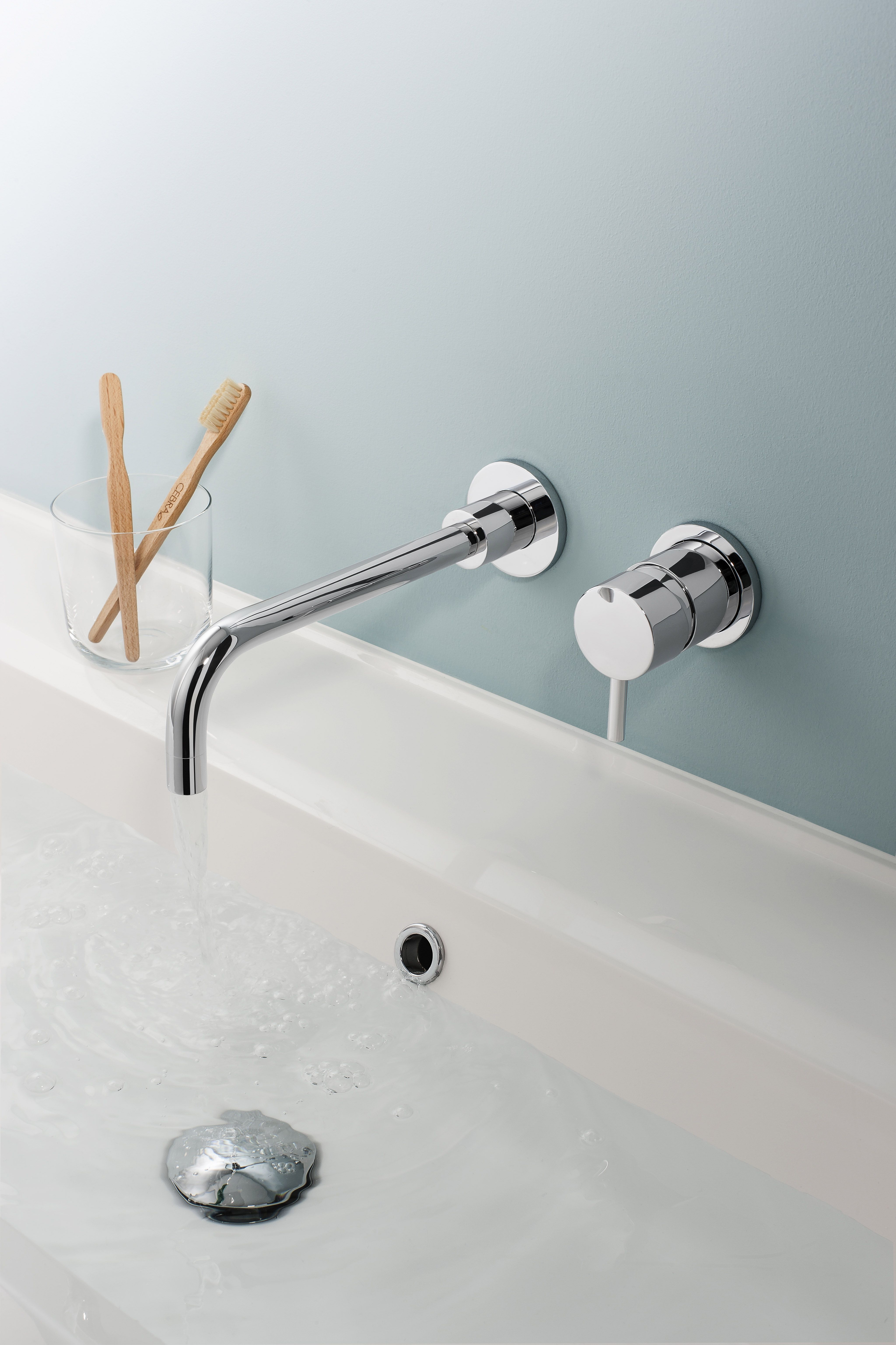 wall mounted faucet modern blue bathroom vintage home depot sink bathtubs mosaic vanities best tile corner of cabinets faucets
