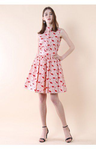 Flamingo Fun Flare Print Dress - Retro, Indie and Unique Fashion