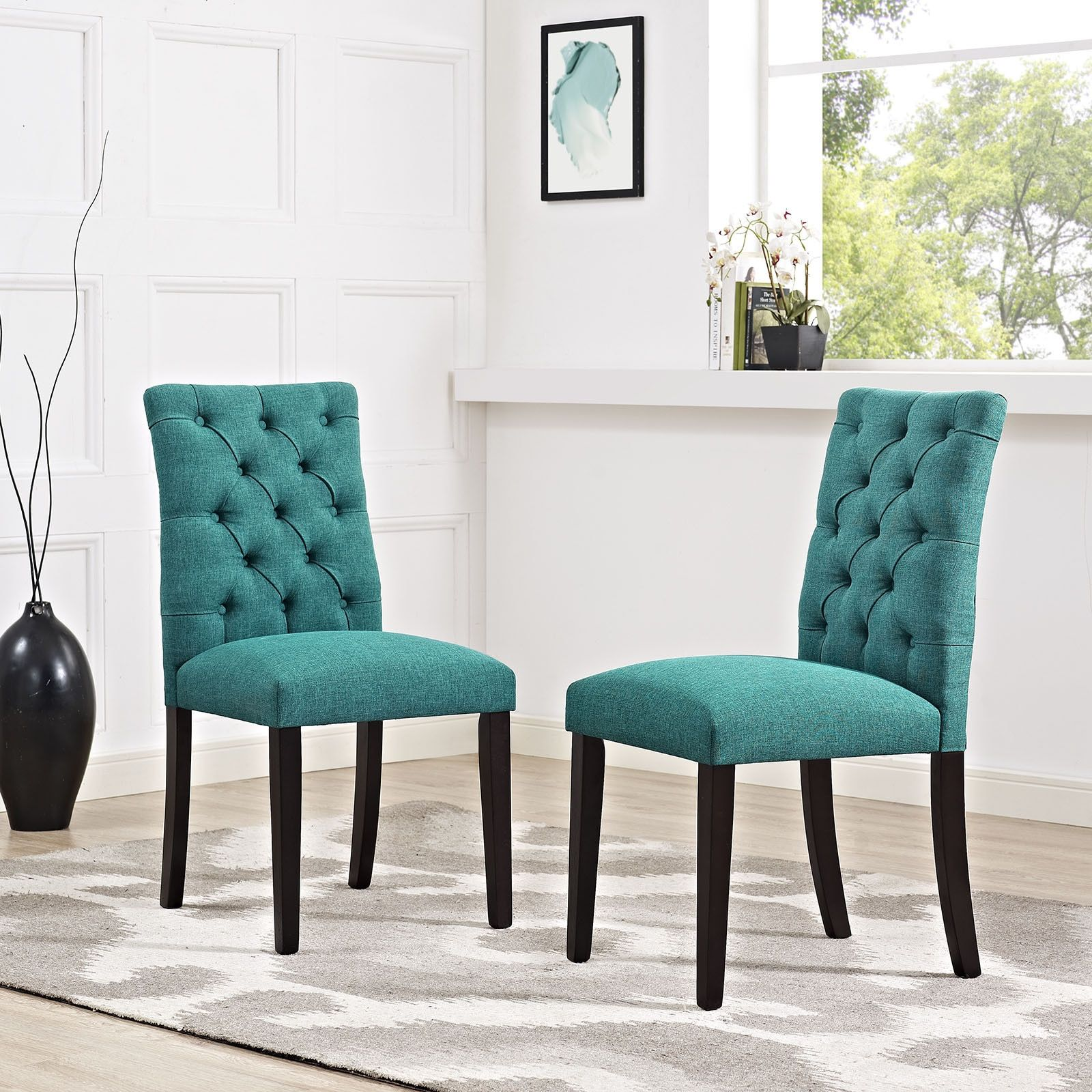 Modway Duchess Tufted Fabric Dining Chair (Azure), Beige Off-White ...