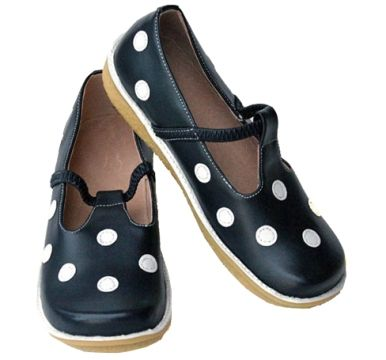 Girls Youth Sizes. Puddle Jumper T-Strap Slip On Shoes Navy with White Polka Dots, Berry Styles Kids Shoes