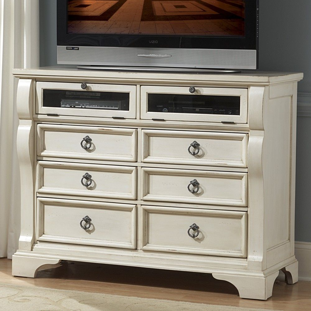 Victorian Tv Stand: Heirloom Wood Media Dresser / TV Stand In Antique White By