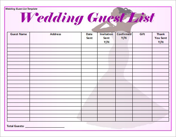 Handy image in free printable wedding guest list