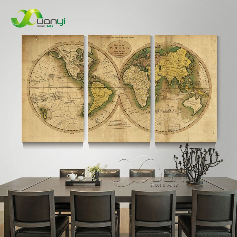3 panel world map atlas canvas poster painting home decor wall 3 panel world map atlas canvas poster painting home decor wall modular picture for bed room gumiabroncs Images