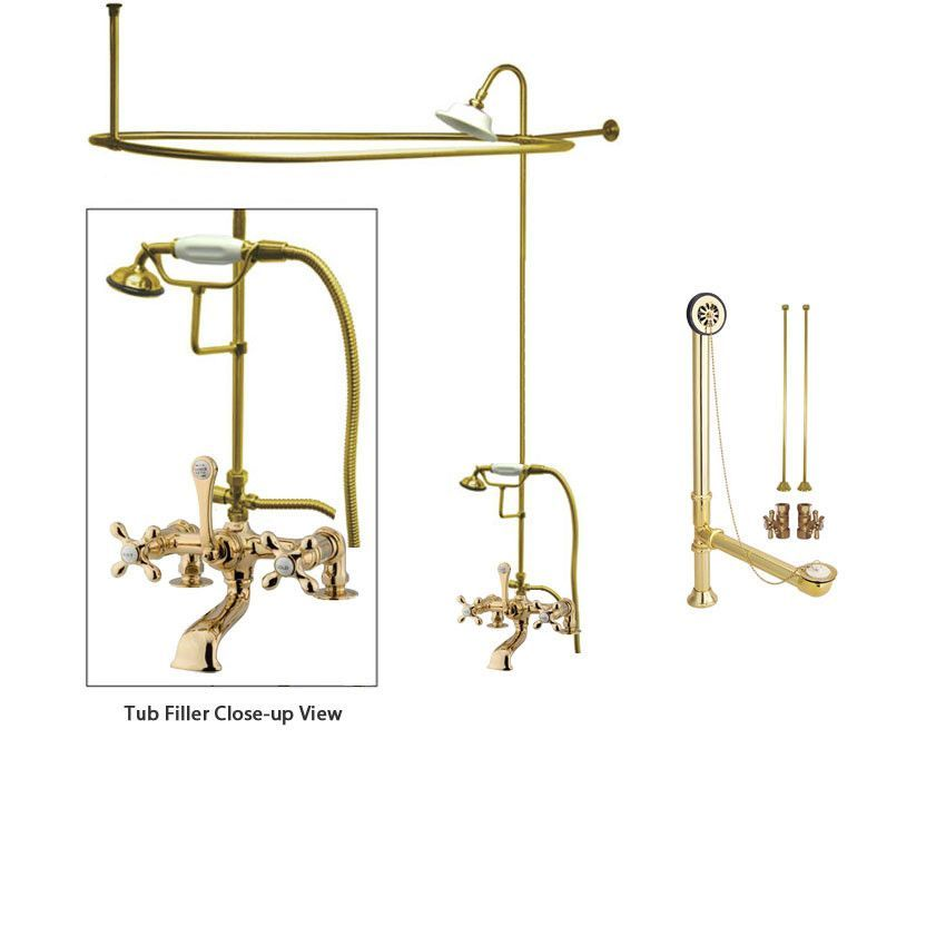 brass clawfoot tub shower kit. Polished Brass Clawfoot Bathtub Faucet Shower Kit with Enclosure Curtain  Rod 209T2CTS