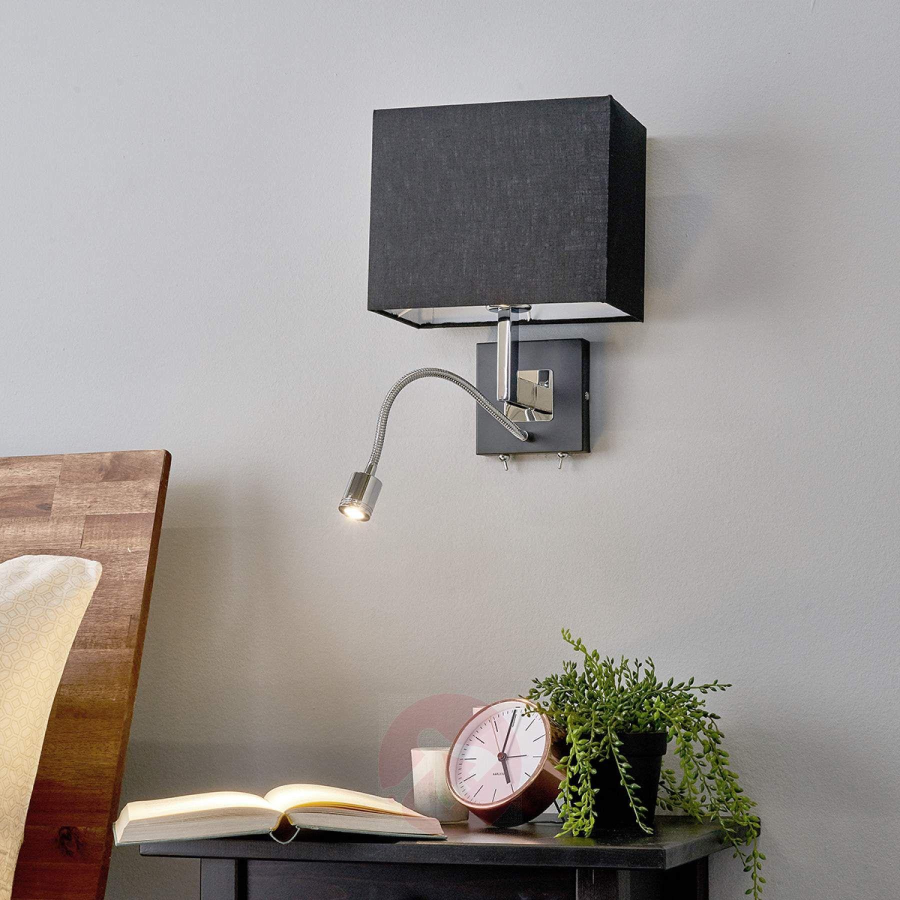 Black Fabric Wall Lamp Rebekka Led Reading Arm Attic Bedroom Decor Bedroom Reading Lights Wall Lights
