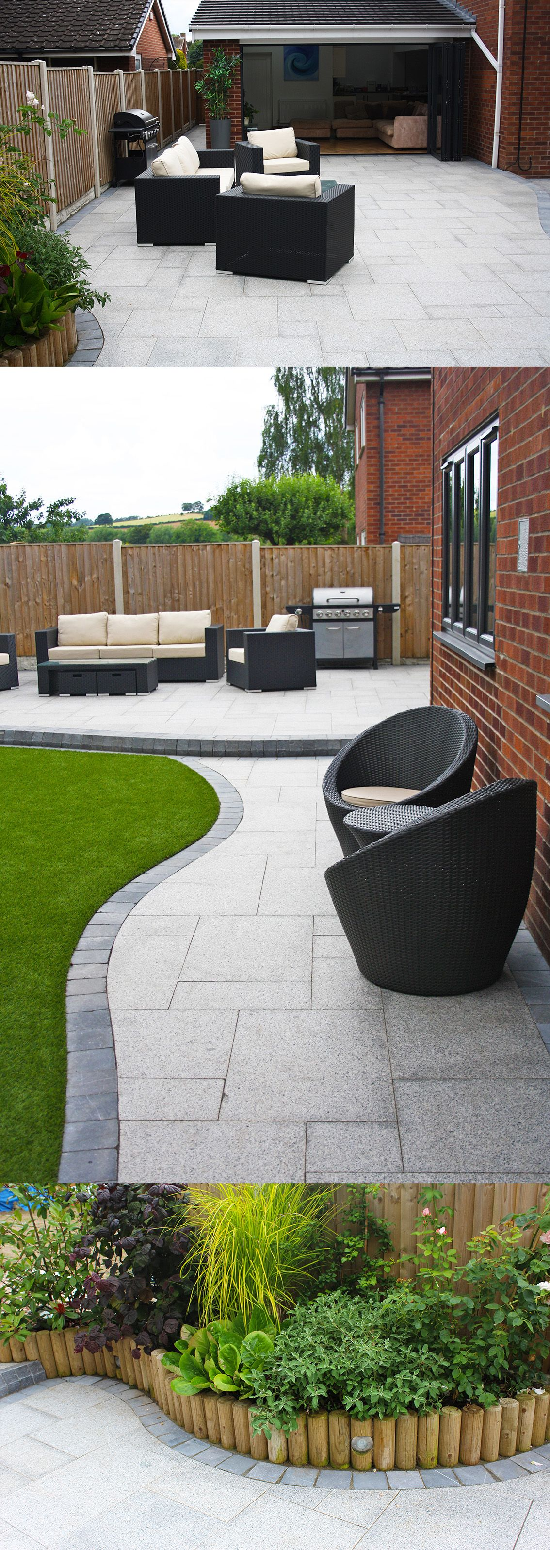 Stunning Modern Patio Birch Granite Paving Contemporary Garden Wicker Furniture Landscaping Garden Seat Patio Garden Modern Landscaping Garden Design
