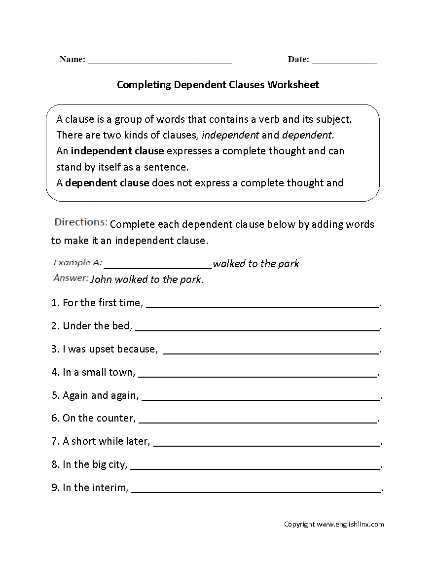 Worksheets Clauses Worksheet completing dependent clauses worksheet englishlinx com board this complex sentences directs the student to complete each sentence by adding an independent clause a se