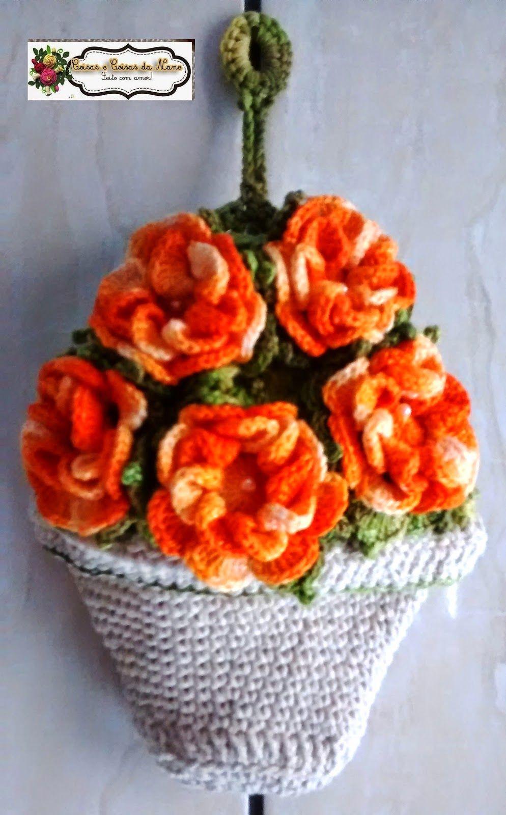 Pin de Silvie Araújo en bags   Pinterest   Flores tejidas, Flores y ...
