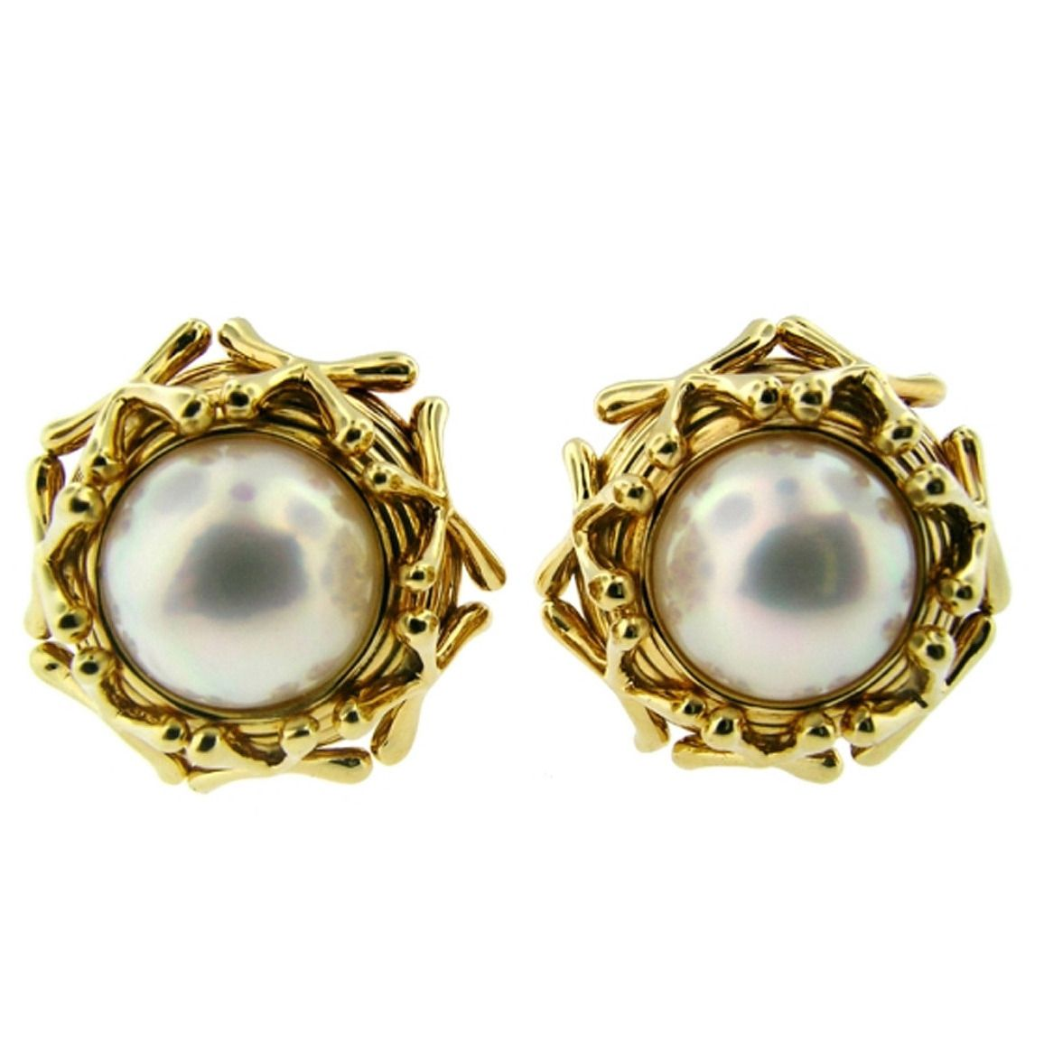 Tiffany Co Jean Schlumberger Mabe Pearl Gold Stud Earrings